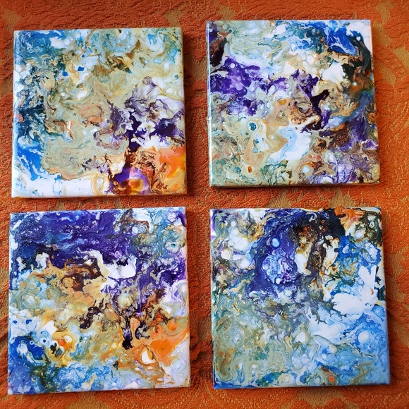 "Kristopia Studios Other - Hand Painted Tile Coasters Set of 4 ""Volcanic Sea"""